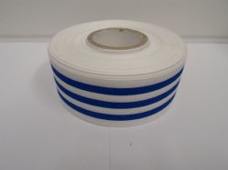 White with Royal Dark Blue Stripe grosgrain ribbon deck chair stripe double sided 15mm 38mm 2 or 20 metre roll